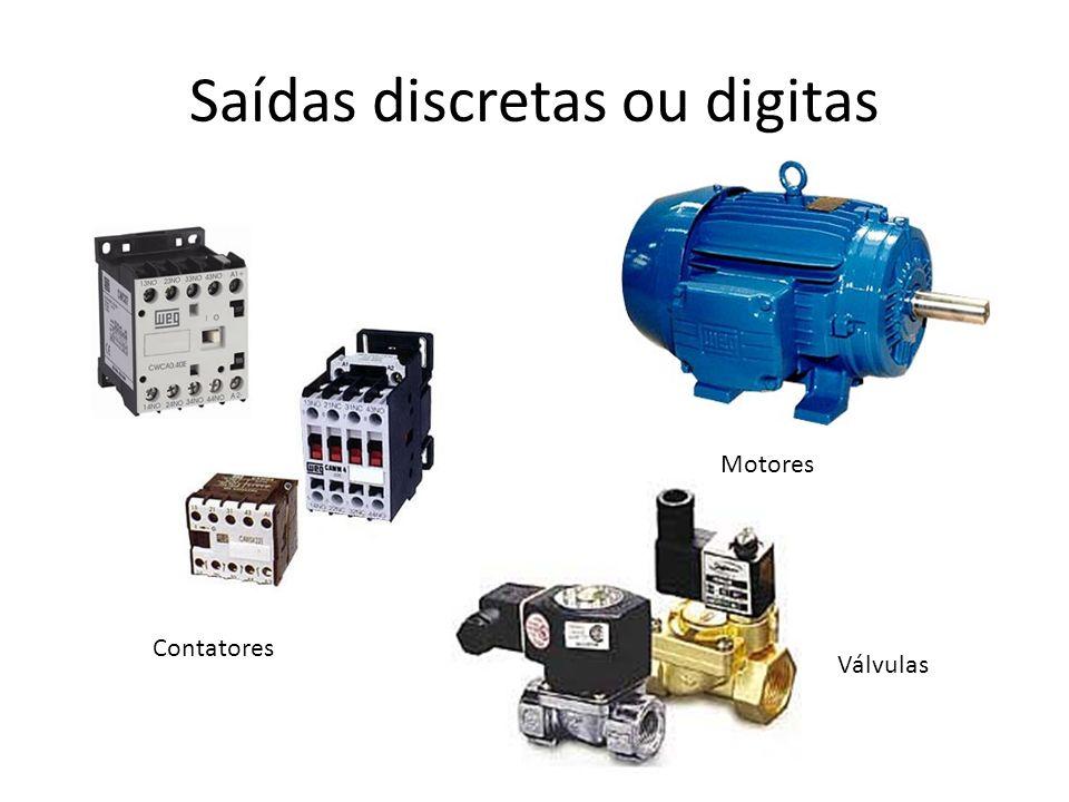 Saídas discretas ou digitas Contatores Motores Válvulas