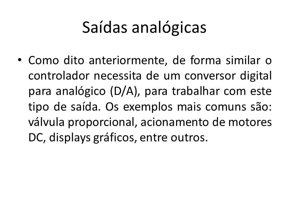 Saídas analógicas Como dito anteriormente, de forma similar o controlador necessita de um conversor digital para analógico (D/A), para trabalhar com e