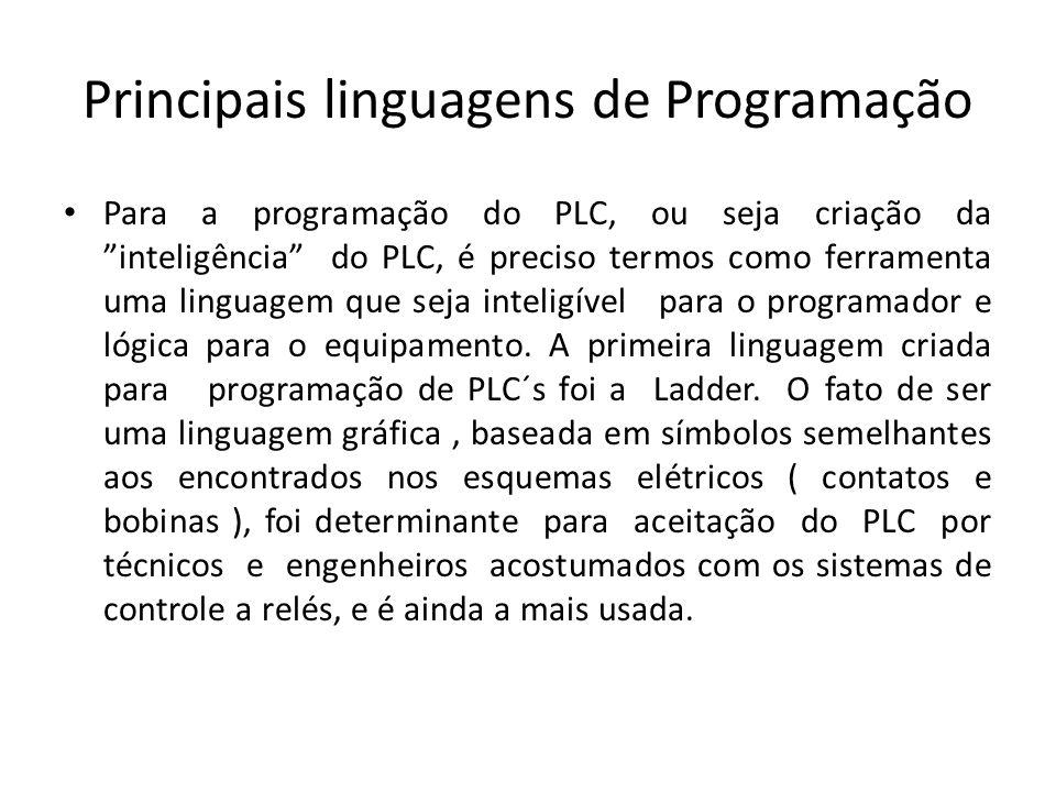 Principais linguagens de Programação Para a programação do PLC, ou seja criação da inteligência do PLC, é preciso termos como ferramenta uma linguagem que seja inteligível para o programador e lógica para o equipamento.