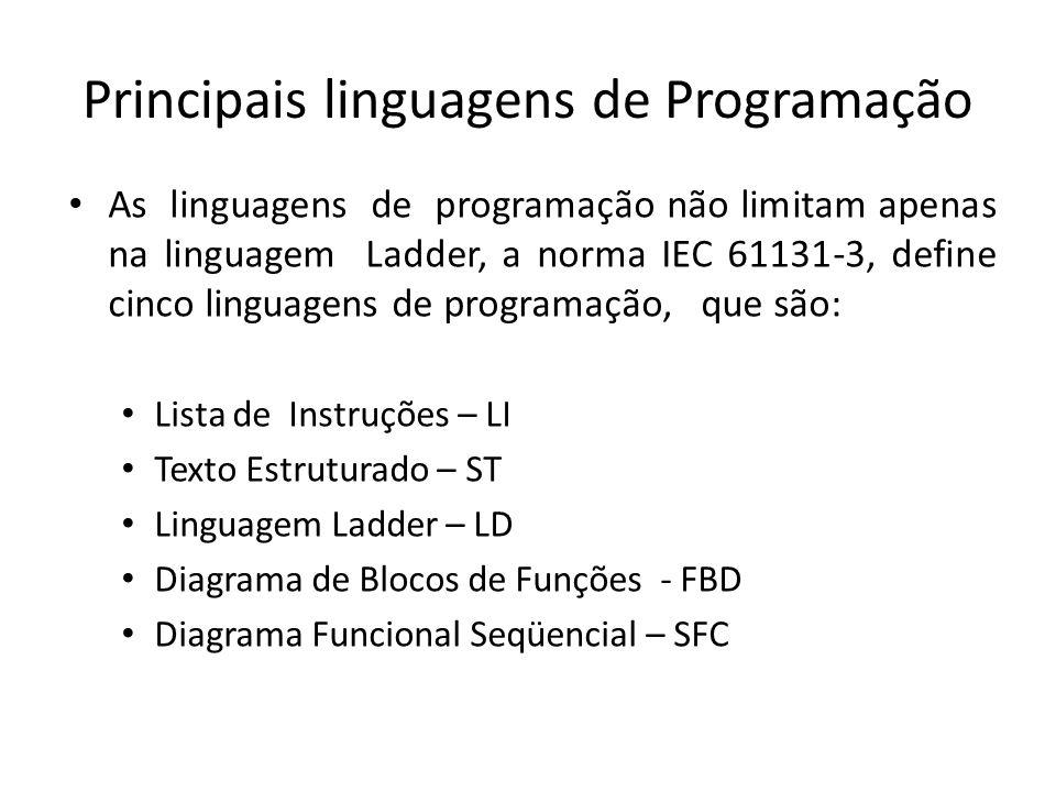 Principais linguagens de Programação As linguagens de programação não limitam apenas na linguagem Ladder, a norma IEC 61131-3, define cinco linguagens de programação, que são: Lista de Instruções – LI Texto Estruturado – ST Linguagem Ladder – LD Diagrama de Blocos de Funções - FBD Diagrama Funcional Seqüencial – SFC