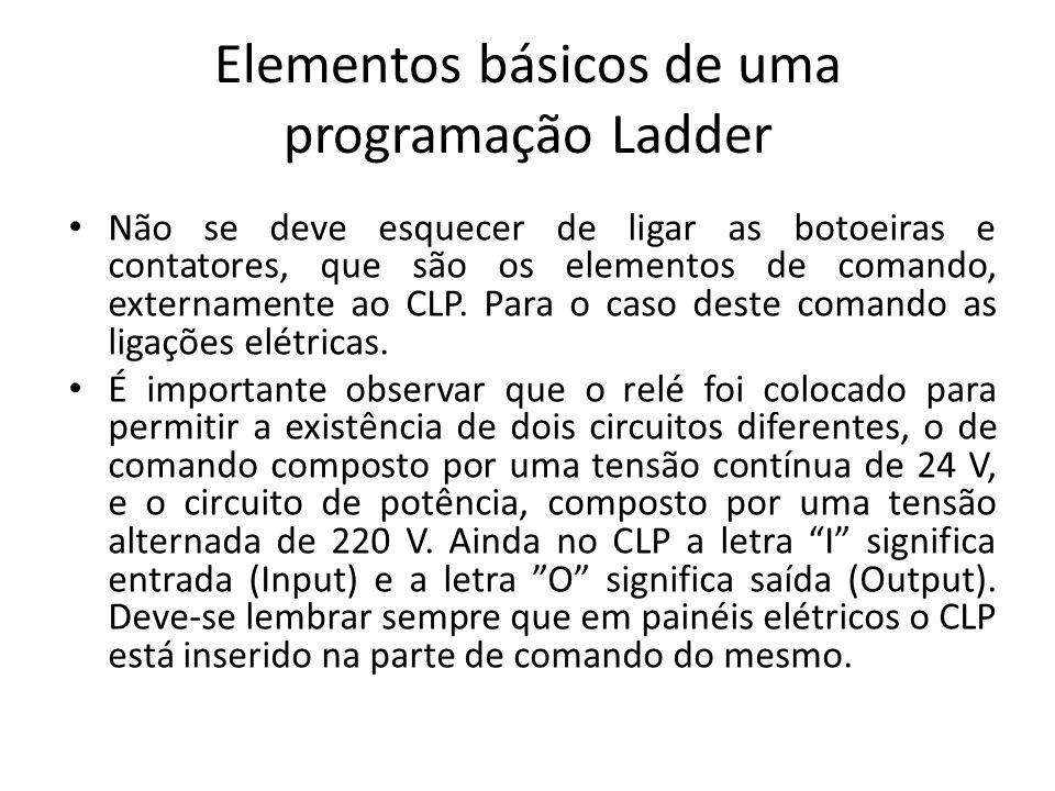 Elementos básicos de uma programação Ladder Não se deve esquecer de ligar as botoeiras e contatores, que são os elementos de comando, externamente ao