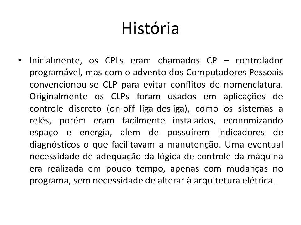 História Inicialmente, os CPLs eram chamados CP – controlador programável, mas com o advento dos Computadores Pessoais convencionou-se CLP para evitar