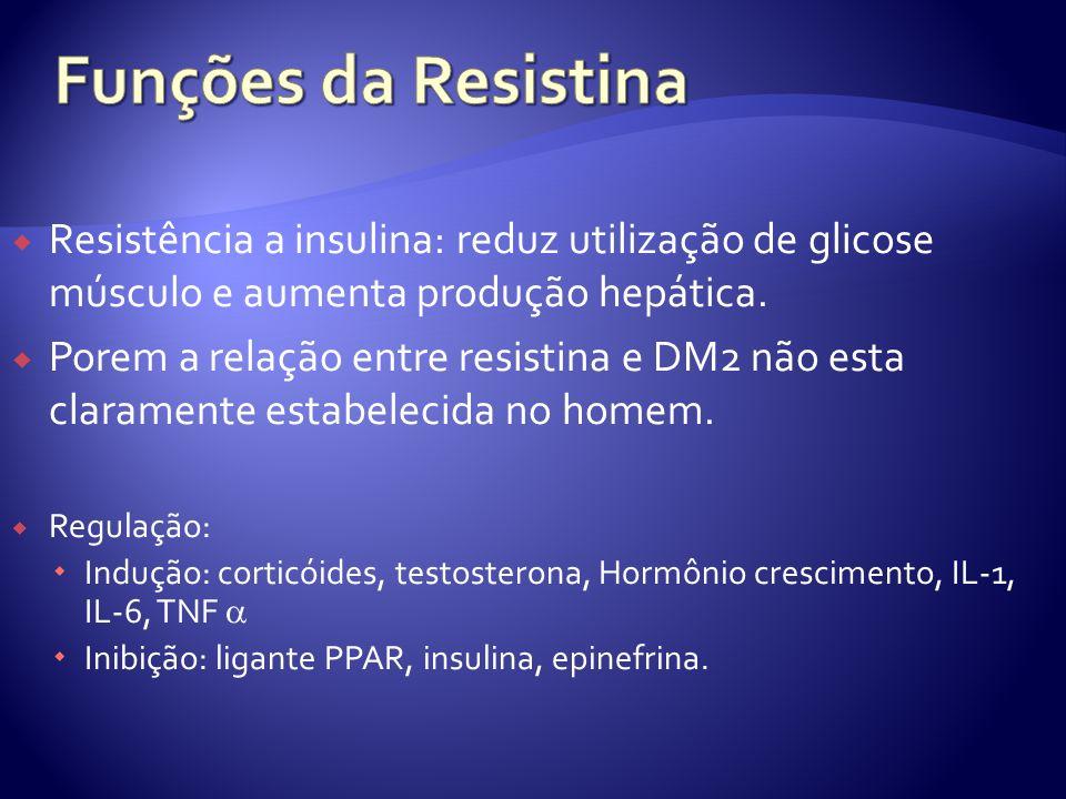 Resistência a insulina: reduz utilização de glicose músculo e aumenta produção hepática. Porem a relação entre resistina e DM2 não esta claramente est