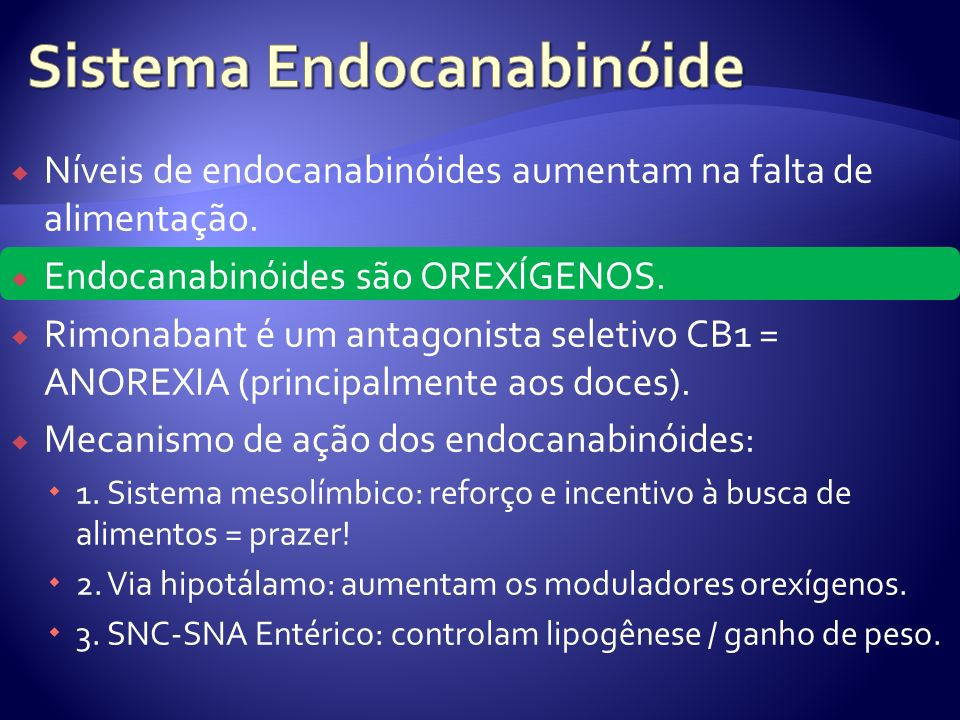 Níveis de endocanabinóides aumentam na falta de alimentação. Endocanabinóides são OREXÍGENOS. Rimonabant é um antagonista seletivo CB1 = ANOREXIA (pri