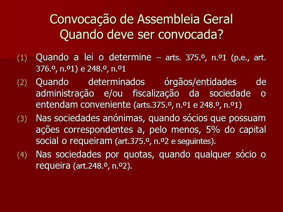 Convocação de Assembleia Geral Quando deve ser convocada? (1) Quando a lei o determine – arts. 375.º, n.º1 (p.e., art. 376.º, n.º1) e 248.º, n.º1 (2)