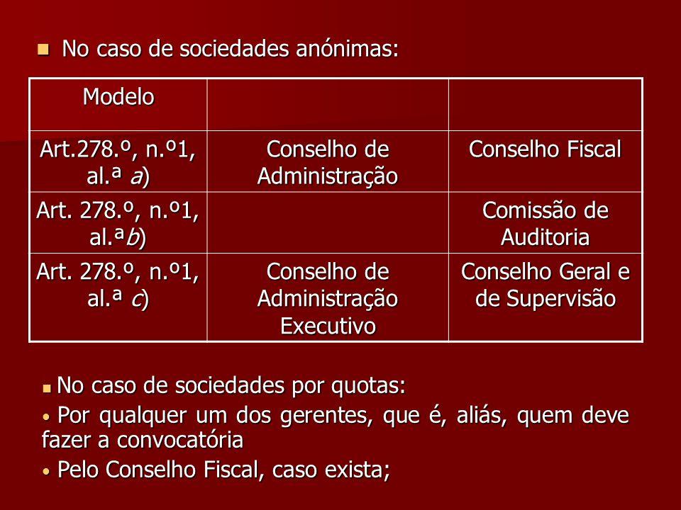 No caso de sociedades anónimas: No caso de sociedades anónimas: Modelo Art.278.º, n.º1, al.ª a) Conselho de Administração Conselho Fiscal Art. 278.º,