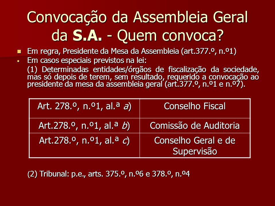 Convocação da Assembleia Geral da S.A. - Quem convoca? Em regra, Presidente da Mesa da Assembleia (art.377.º, n.º1) Em regra, Presidente da Mesa da As