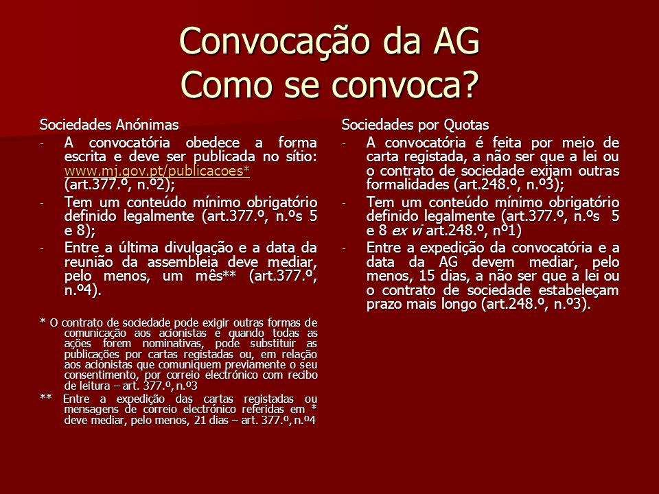 Convocação da AG Como se convoca? Sociedades Anónimas - A convocatória obedece a forma escrita e deve ser publicada no sítio: www.mj.gov.pt/publicacoe