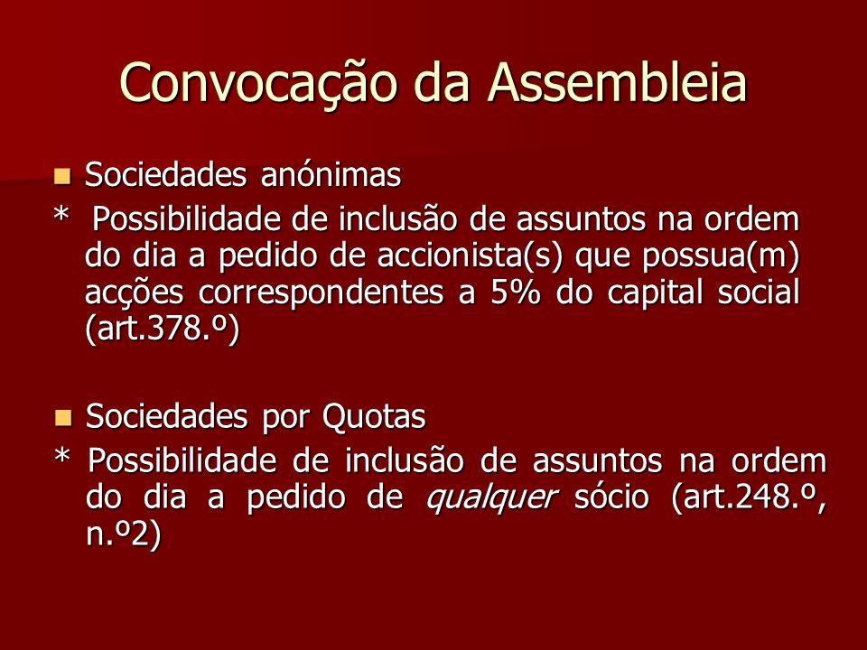 Convocação da Assembleia Sociedades anónimas Sociedades anónimas * Possibilidade de inclusão de assuntos na ordem do dia a pedido de accionista(s) que