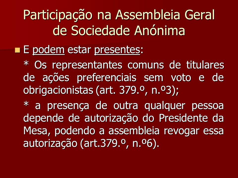 Participação na Assembleia Geral de Sociedade Anónima E podem estar presentes: E podem estar presentes: * Os representantes comuns de titulares de açõ