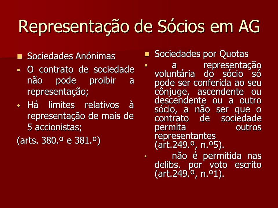 Representação de Sócios em AG Sociedades Anónimas Sociedades Anónimas O contrato de sociedade não pode proibir a representação; O contrato de sociedad