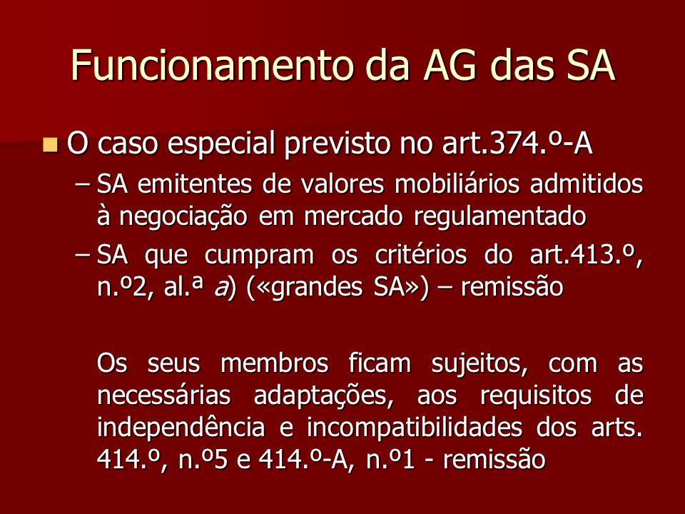 Funcionamento da AG das SA O caso especial previsto no art.374.º-A O caso especial previsto no art.374.º-A –SA emitentes de valores mobiliários admiti