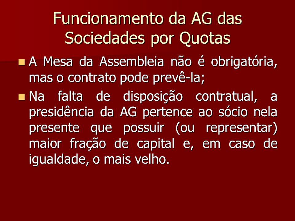 Funcionamento da AG das Sociedades por Quotas A Mesa da Assembleia não é obrigatória, mas o contrato pode prevê-la; A Mesa da Assembleia não é obrigat