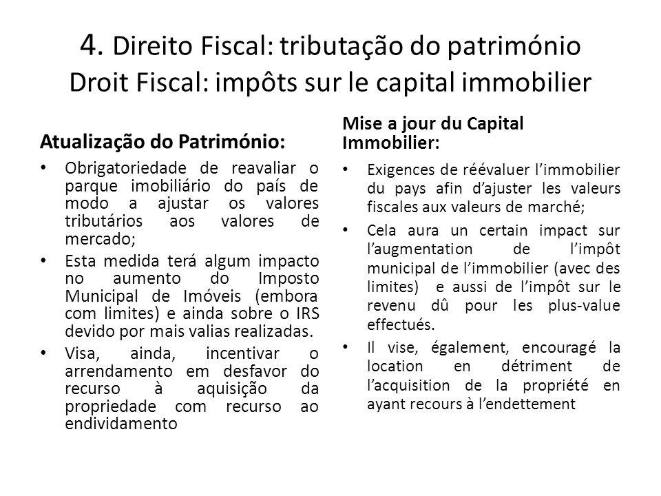 4. Direito Fiscal: tributação do património Droit Fiscal: impôts sur le capital immobilier Atualização do Património: Obrigatoriedade de reavaliar o p