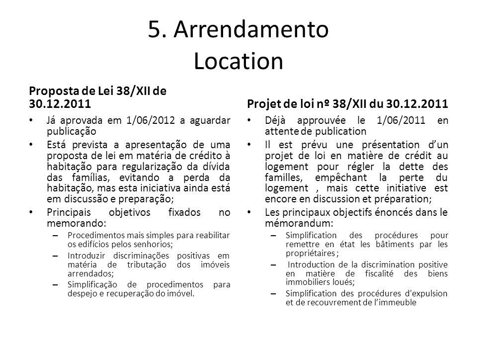 5. Arrendamento Location Proposta de Lei 38/XII de 30.12.2011 Já aprovada em 1/06/2012 a aguardar publicação Está prevista a apresentação de uma propo