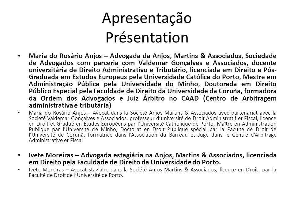 Apresentação Présentation Maria do Rosário Anjos – Advogada da Anjos, Martins & Associados, Sociedade de Advogados com parceria com Valdemar Gonçalves