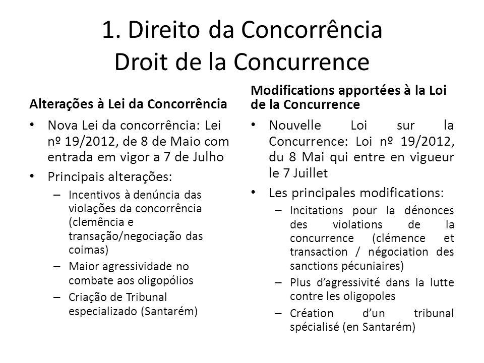 1. Direito da Concorrência Droit de la Concurrence Alterações à Lei da Concorrência Nova Lei da concorrência: Lei nº 19/2012, de 8 de Maio com entrada