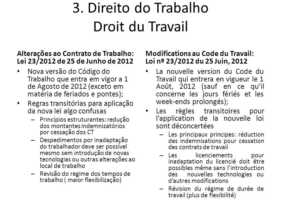 3. Direito do Trabalho Droit du Travail Alterações ao Contrato de Trabalho: Lei 23/2012 de 25 de Junho de 2012 Nova versão do Código do Trabalho que e
