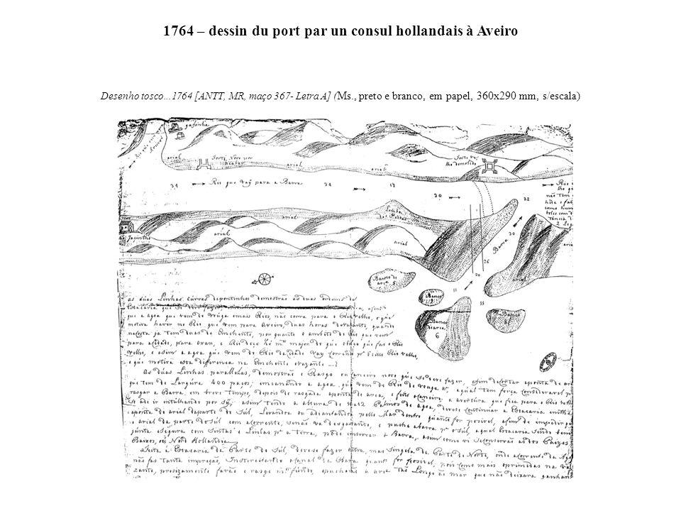 1764 – dessin du port par un consul hollandais à Aveiro Desenho tosco...1764 [ANTT, MR, maço 367- Letra A] ( Ms., preto e branco, em papel, 360x290 mm