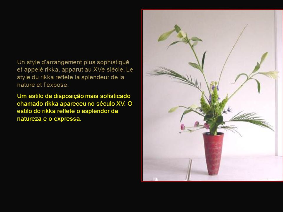 Dans ces arrangements, les fleurs et les branches étaient disposées de telle sorte qu'elles pointent vers le ciel. Nessas modalidades, flores e ramos