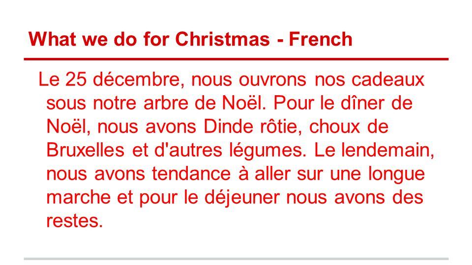 What we do for Christmas - French Le 25 décembre, nous ouvrons nos cadeaux sous notre arbre de Noël. Pour le dîner de Noël, nous avons Dinde rôtie, ch