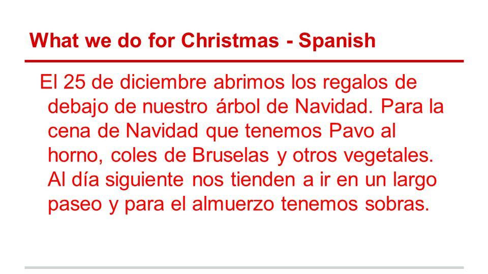 What we do for Christmas - Spanish El 25 de diciembre abrimos los regalos de debajo de nuestro árbol de Navidad.