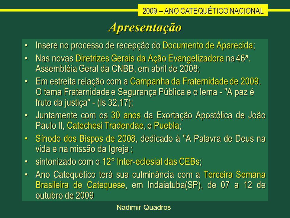 2009 – ANO CATEQUÉTICO NACIONAL Nadimir Quadros Apresentação Insere no processo de recepção do Documento de Aparecida;Insere no processo de recepção do Documento de Aparecida; Nas novas Diretrizes Gerais da Ação Evangelizadora na 46 a.