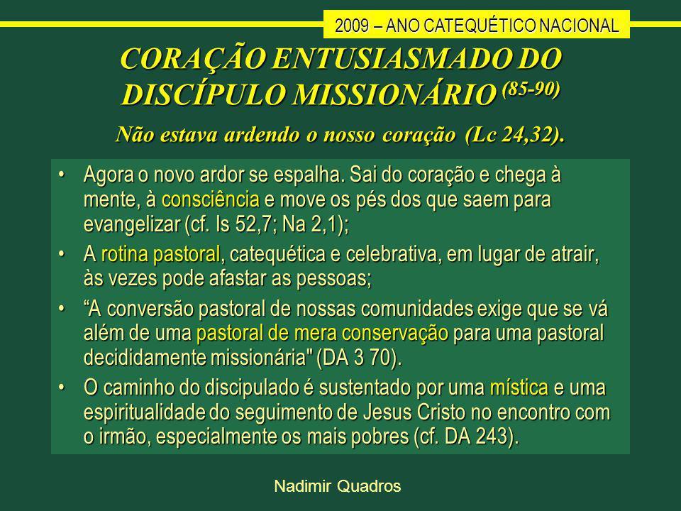2009 – ANO CATEQUÉTICO NACIONAL Nadimir Quadros CORAÇÃO ENTUSIASMADO DO DISCÍPULO MISSIONÁRIO (85-90) Não estava ardendo o nosso coração (Lc 24,32).