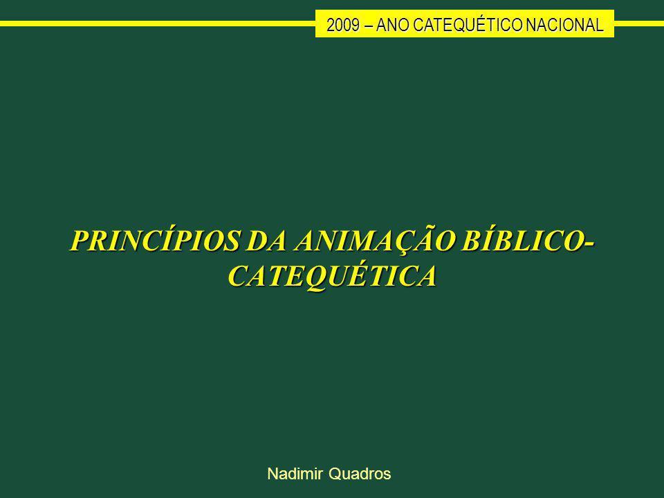 2009 – ANO CATEQUÉTICO NACIONAL Nadimir Quadros PRINCÍPIOS DA ANIMAÇÃO BÍBLICO- CATEQUÉTICA