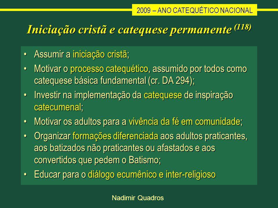 2009 – ANO CATEQUÉTICO NACIONAL Nadimir Quadros Iniciação cristã e catequese permanente (118) Assumir a iniciação cristã;Assumir a iniciação cristã; Motivar o processo catequético, assumido por todos como catequese básica fundamental (cr.