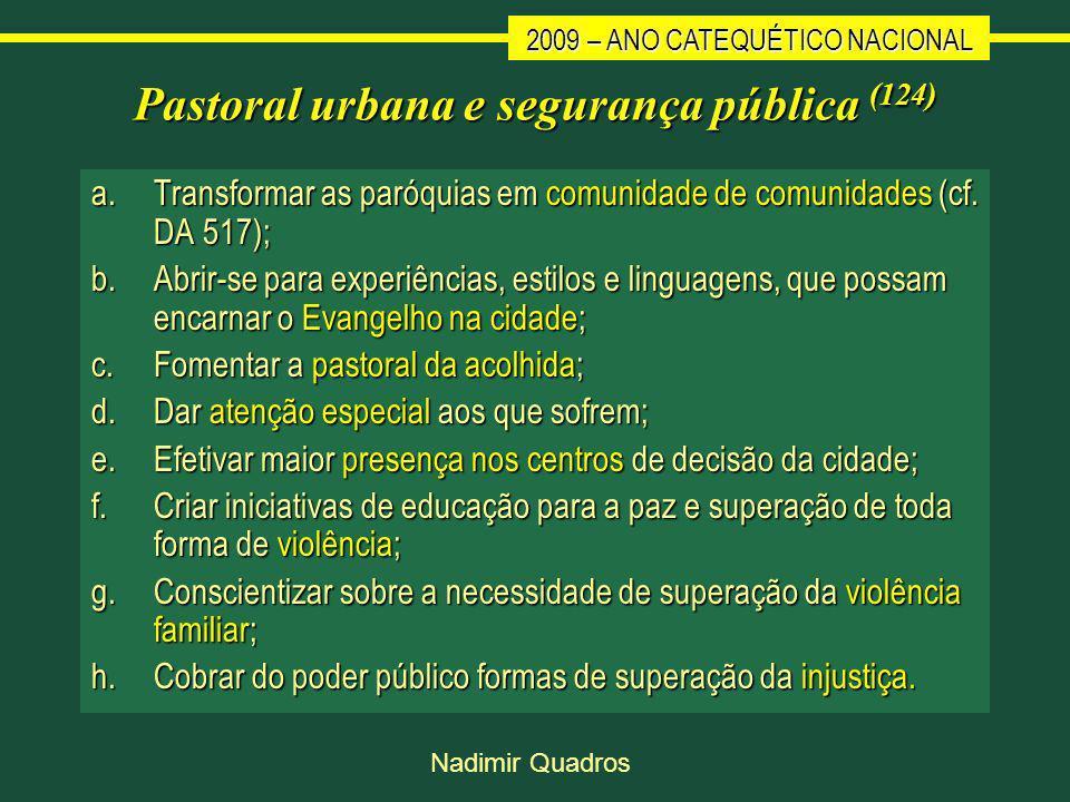 2009 – ANO CATEQUÉTICO NACIONAL Nadimir Quadros Pastoral urbana e segurança pública (124) a.Transformar as paróquias em comunidade de comunidades (cf.