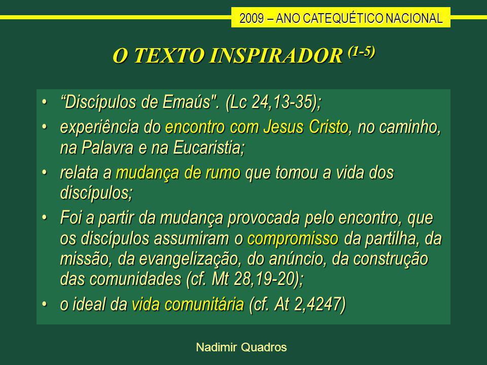 2009 – ANO CATEQUÉTICO NACIONAL Nadimir Quadros O TEXTO INSPIRADOR (1-5) Discípulos de Emaús .
