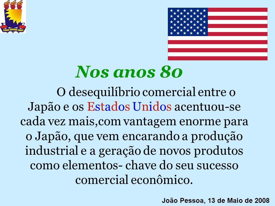 Nos anos 80 O desequilíbrio comercial entre o Japão e os Estados Unidos acentuou-se cada vez mais,com vantagem enorme para o Japão, que vem encarando
