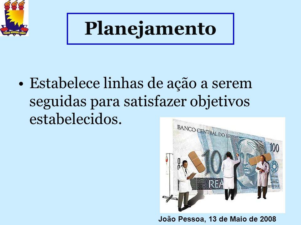 Planejamento Estabelece linhas de ação a serem seguidas para satisfazer objetivos estabelecidos. João Pessoa, 13 de Maio de 2008