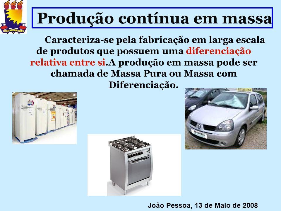 Produção contínua em massa Caracteriza-se pela fabricação em larga escala de produtos que possuem uma diferenciação relativa entre si.A produção em ma