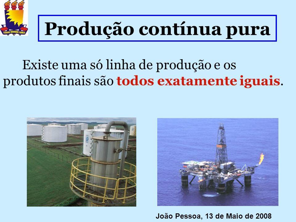 Produção contínua pura Existe uma só linha de produção e os produtos finais são todos exatamente iguais. João Pessoa, 13 de Maio de 2008