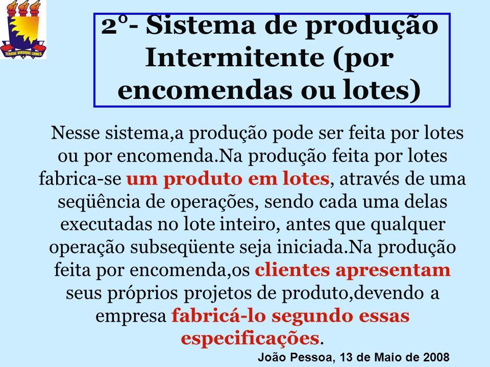 2°- Sistema de produção Intermitente (por encomendas ou lotes) Nesse sistema,a produção pode ser feita por lotes ou por encomenda.Na produção feita po