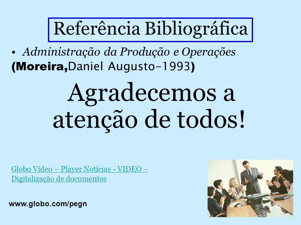 Referência Bibliográfica Administração da Produção e Operações (Moreira, Daniel Augusto-1993 ) Agradecemos a atenção de todos! Globo Vídeo – Player No