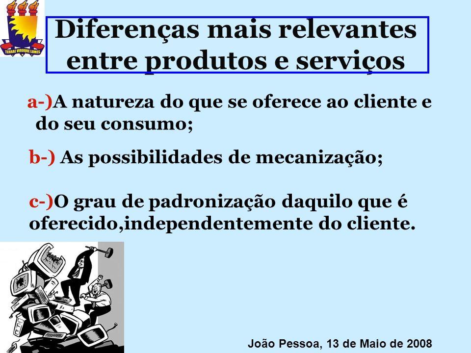 Diferenças mais relevantes entre produtos e serviços a-)A natureza do que se oferece ao cliente e do seu consumo; João Pessoa, 13 de Maio de 2008 b-)
