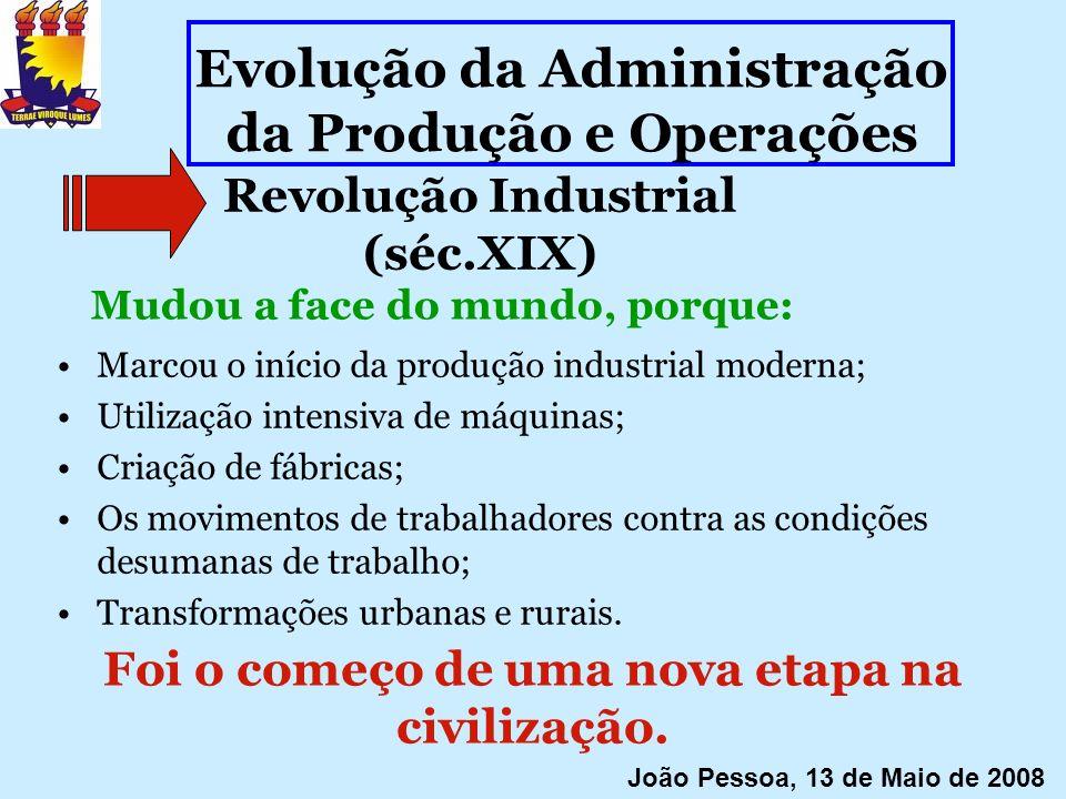 Revolução Industrial (séc.XIX) Marcou o início da produção industrial moderna; Utilização intensiva de máquinas; Criação de fábricas; Os movimentos de