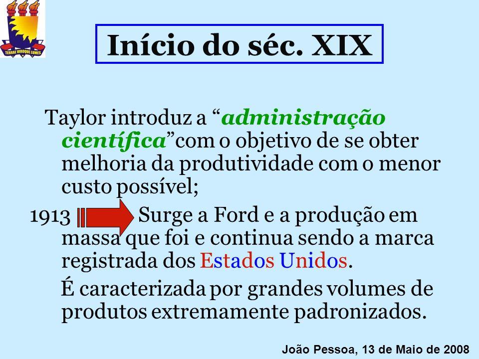 Início do séc. XIX Taylor introduz a administração científicacom o objetivo de se obter melhoria da produtividade com o menor custo possível; 1913 Sur