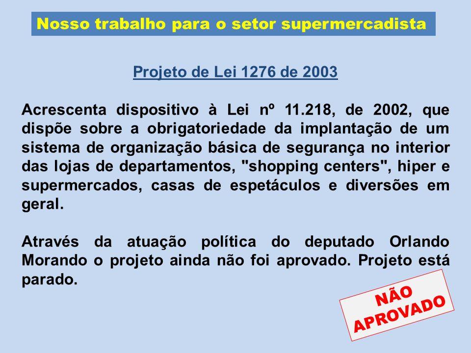 Nosso trabalho para o setor supermercadista Projeto de Lei 1276 de 2003 Acrescenta dispositivo à Lei nº 11.218, de 2002, que dispõe sobre a obrigatori