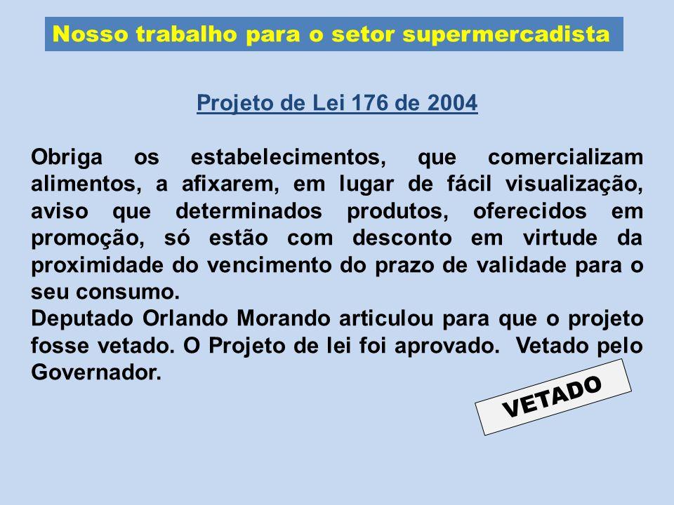 Nosso trabalho para o setor supermercadista Projeto de Lei 176 de 2004 Obriga os estabelecimentos, que comercializam alimentos, a afixarem, em lugar d