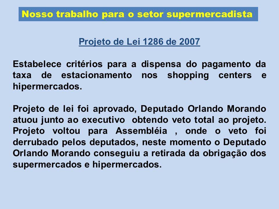 Nosso trabalho para o setor supermercadista Projeto de Lei 1286 de 2007 Estabelece critérios para a dispensa do pagamento da taxa de estacionamento no