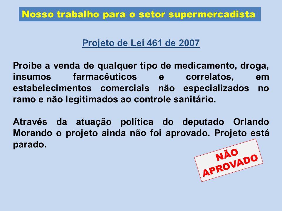 Nosso trabalho para o setor supermercadista Projeto de Lei 461 de 2007 Proíbe a venda de qualquer tipo de medicamento, droga, insumos farmacêuticos e