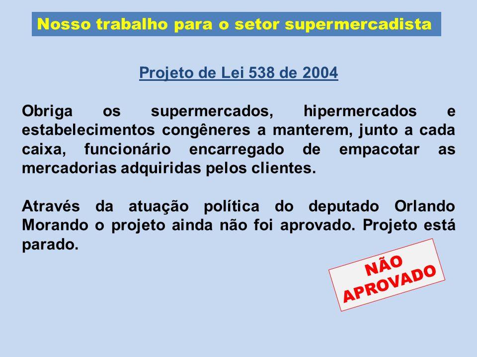 Nosso trabalho para o setor supermercadista Projeto de Lei 538 de 2004 Obriga os supermercados, hipermercados e estabelecimentos congêneres a manterem