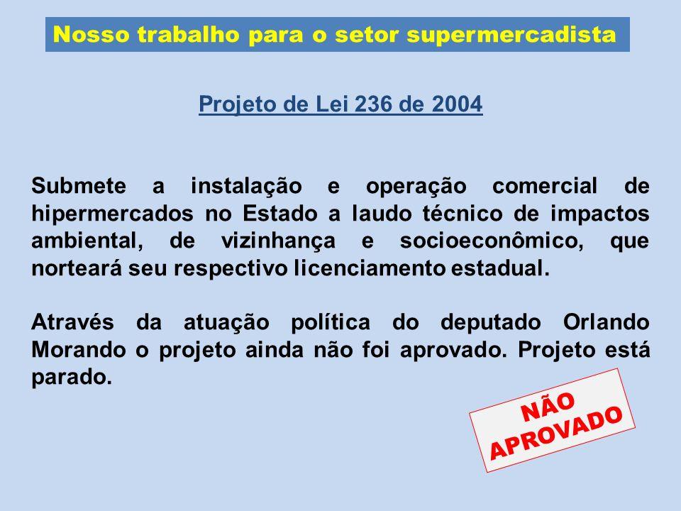 Nosso trabalho para o setor supermercadista Projeto de Lei 236 de 2004 Submete a instalação e operação comercial de hipermercados no Estado a laudo té