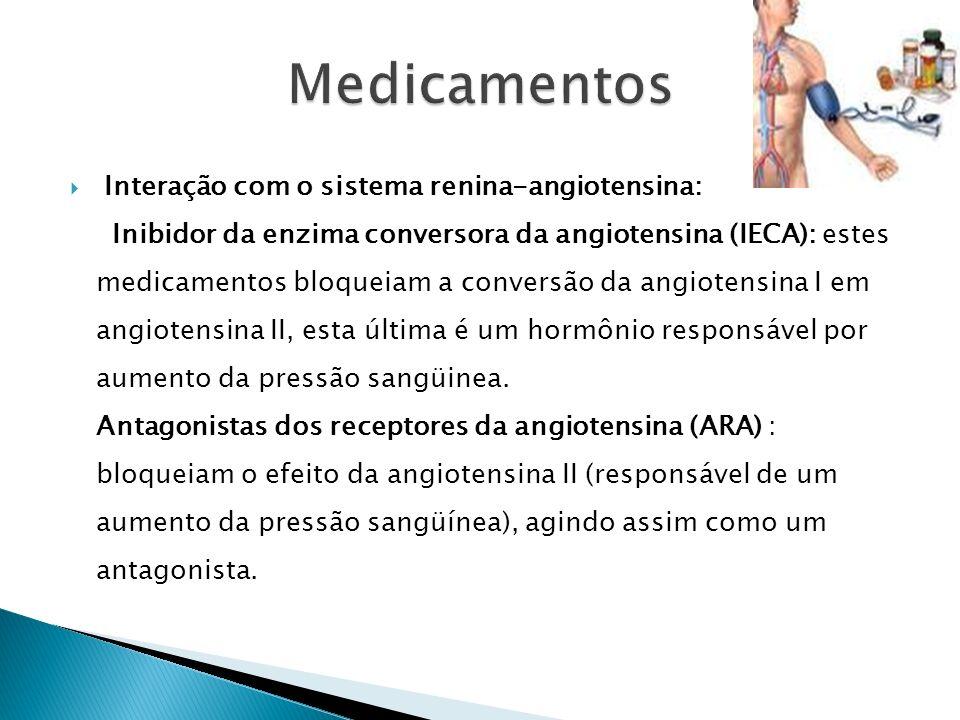 Interação com o sistema renina-angiotensina: Inibidor da enzima conversora da angiotensina (IECA): estes medicamentos bloqueiam a conversão da angiotensina I em angiotensina II, esta última é um hormônio responsável por aumento da pressão sangüinea.