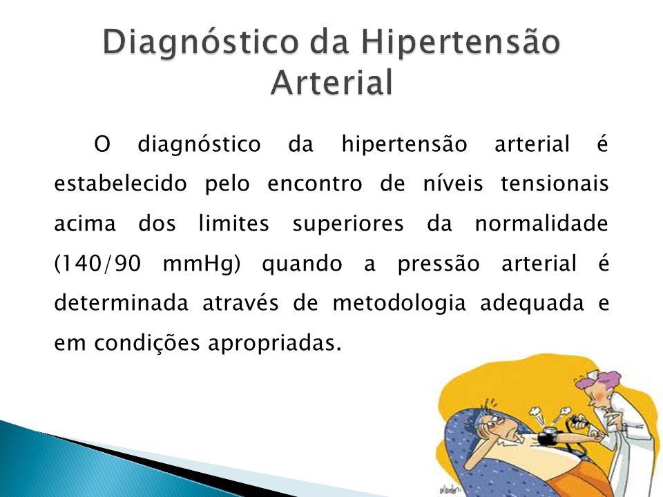 O diagnóstico da hipertensão arterial é estabelecido pelo encontro de níveis tensionais acima dos limites superiores da normalidade (140/90 mmHg) quando a pressão arterial é determinada através de metodologia adequada e em condições apropriadas.