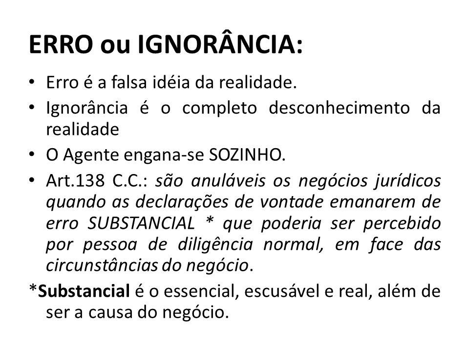 ERRO ou IGNORÂNCIA: Erro é a falsa idéia da realidade. Ignorância é o completo desconhecimento da realidade O Agente engana-se SOZINHO. Art.138 C.C.:
